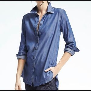 Banana Republic Chambray Button Down Top